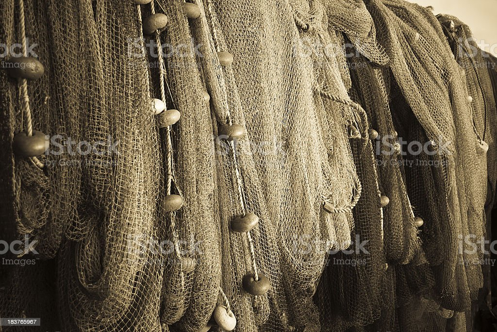 fishing nets close up in monochrome royalty-free stock photo