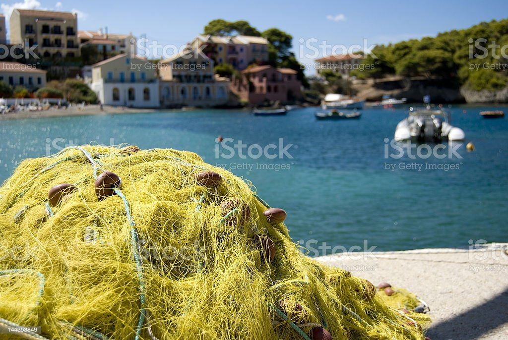 Fishing nets in harbour royalty-free stock photo