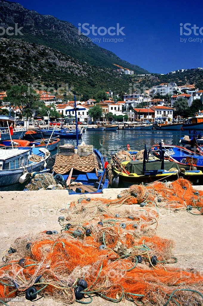 Fishing Nets in Kas Harbour royalty-free stock photo