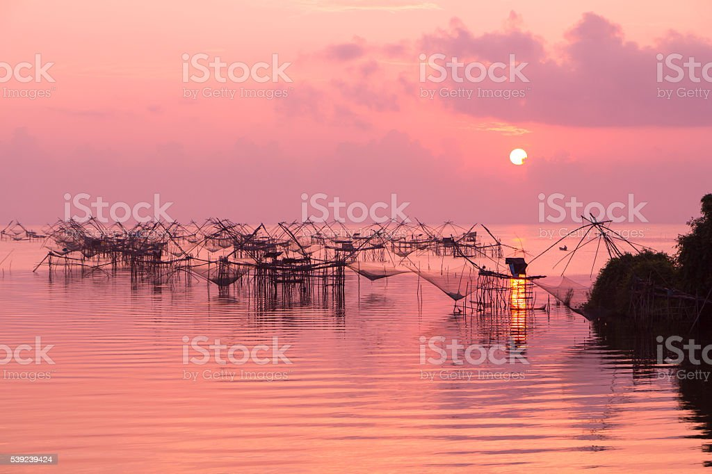 Fishing nets in the lake royalty-free stock photo
