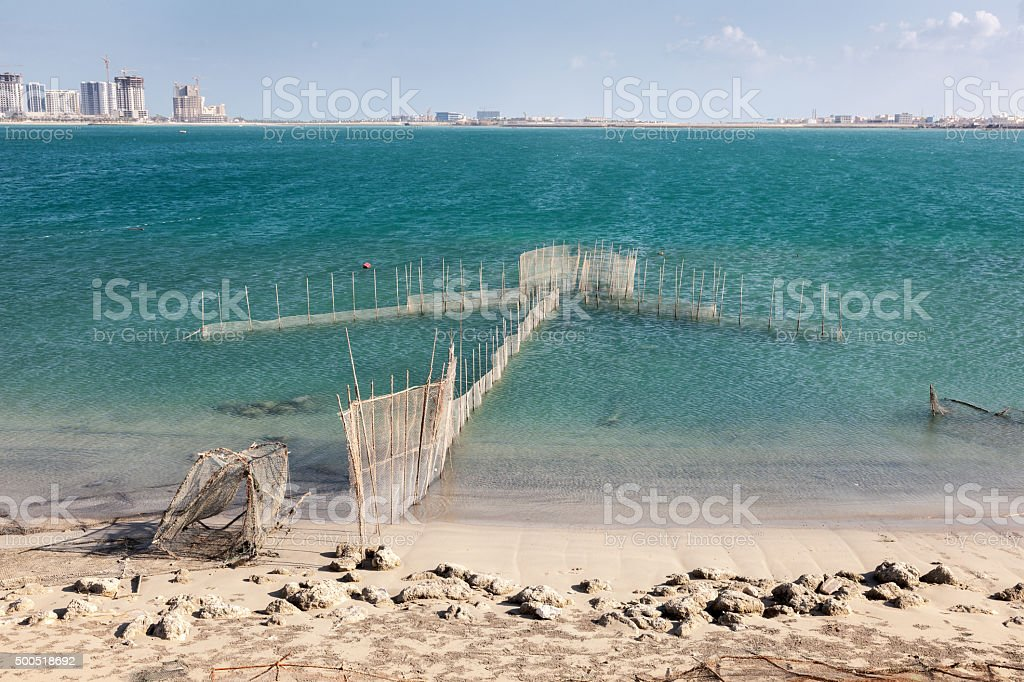 Fishing nets in the Persian Gulf, Bahrain stock photo