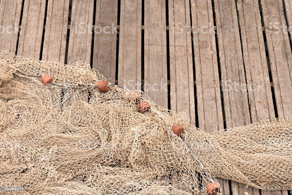 Fishing nets on pier stock photo