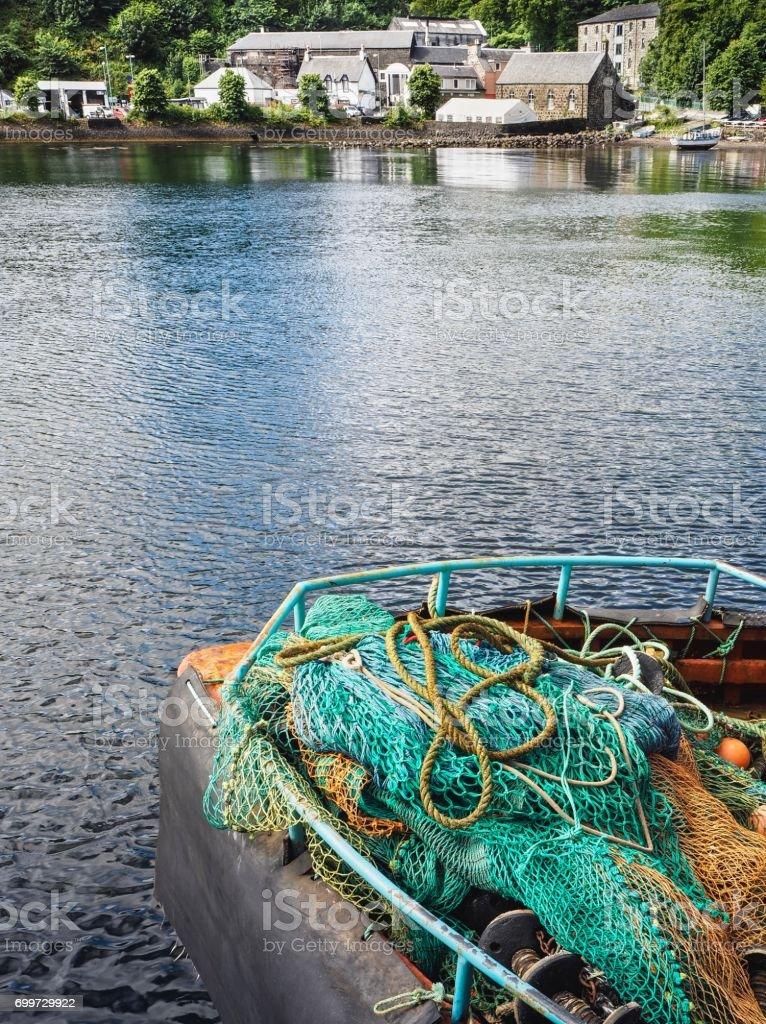 Fishing Nets On Tobermory Harbor Background stock photo