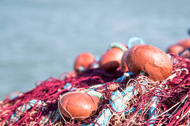 Fishing nets with corks stock photo