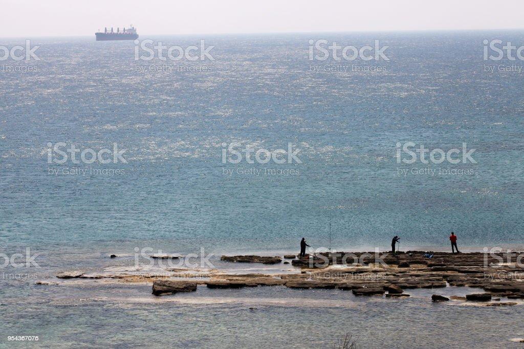Fishing on Bozcaada island stock photo