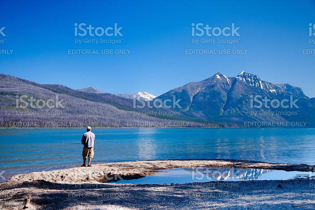 Fishing on Lake McDonald royalty-free stock photo