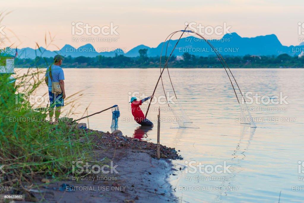 Fischerei am Mekong Fluss in Thailand – Foto