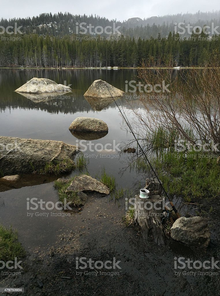 Fishing on on a Rainy Day royalty-free stock photo