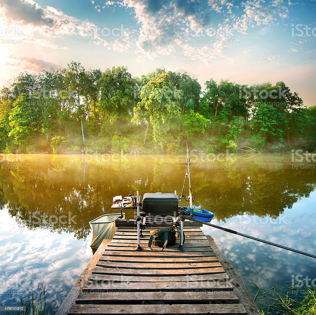Fishing on pond stock photo