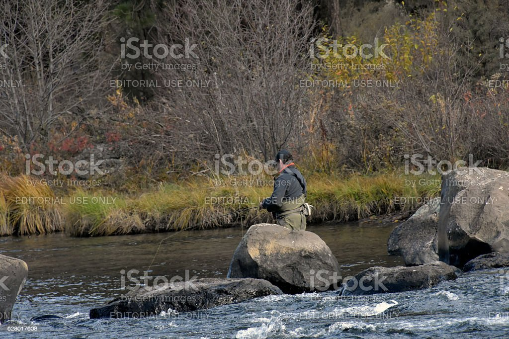 Fishing On The Deschutes River Stock Photo - Download Image Now - iStock