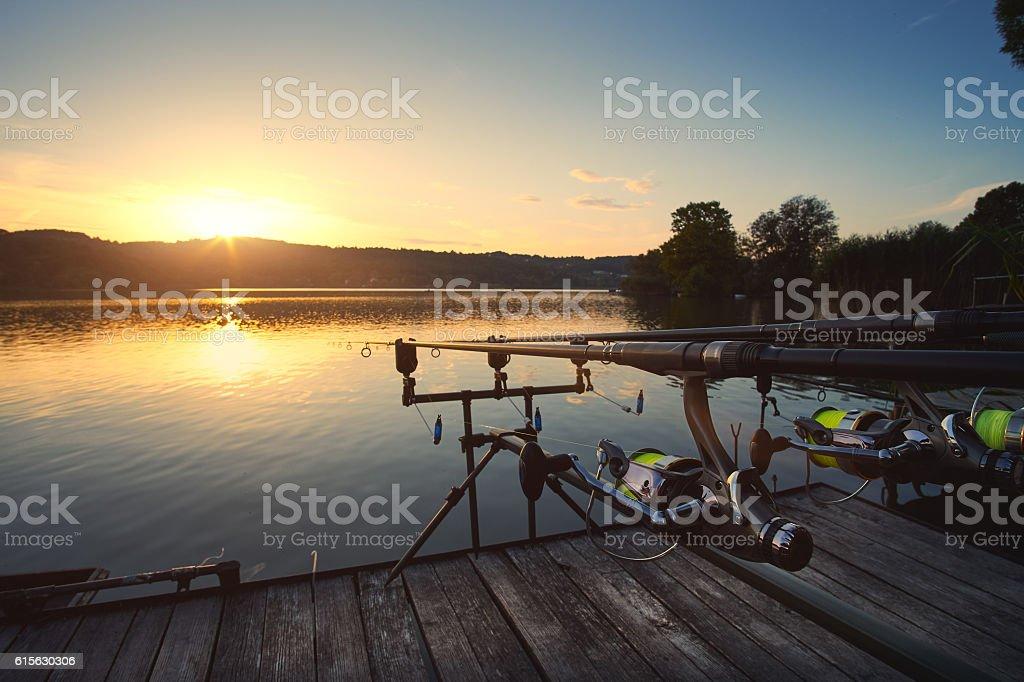Fishing on the lake sunset – Foto
