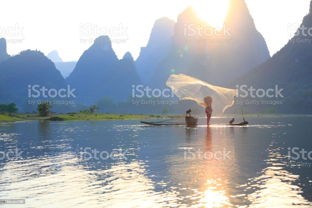 Fishing on the li river stock photo