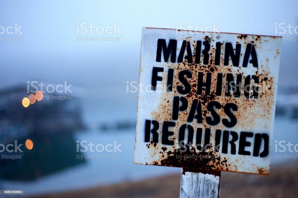 Fishing Pass Sign stock photo