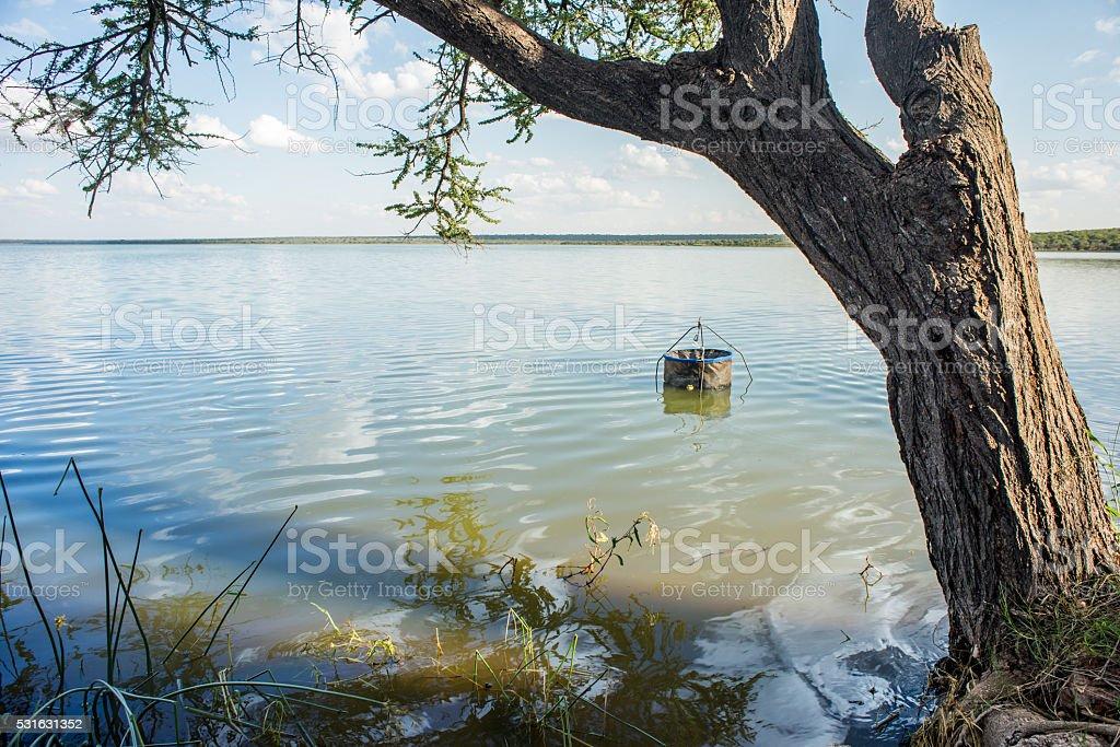 Fishing Pen in Water. stock photo