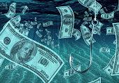 One Hundred Dollar Bill on Fish Hook