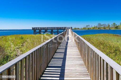 A wooden boardwalk over salt grass on the shoreline at Cedar Key, Florida.