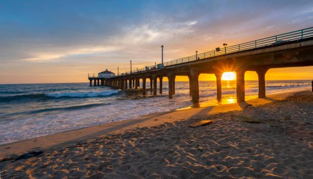 Fishing Pier am Manhattan Beach in der Nähe von Los Angeles California – Foto