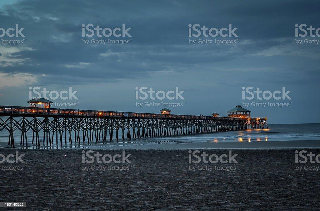 Fishing Pier at Sunrise, Folly Beach, SC stock photo