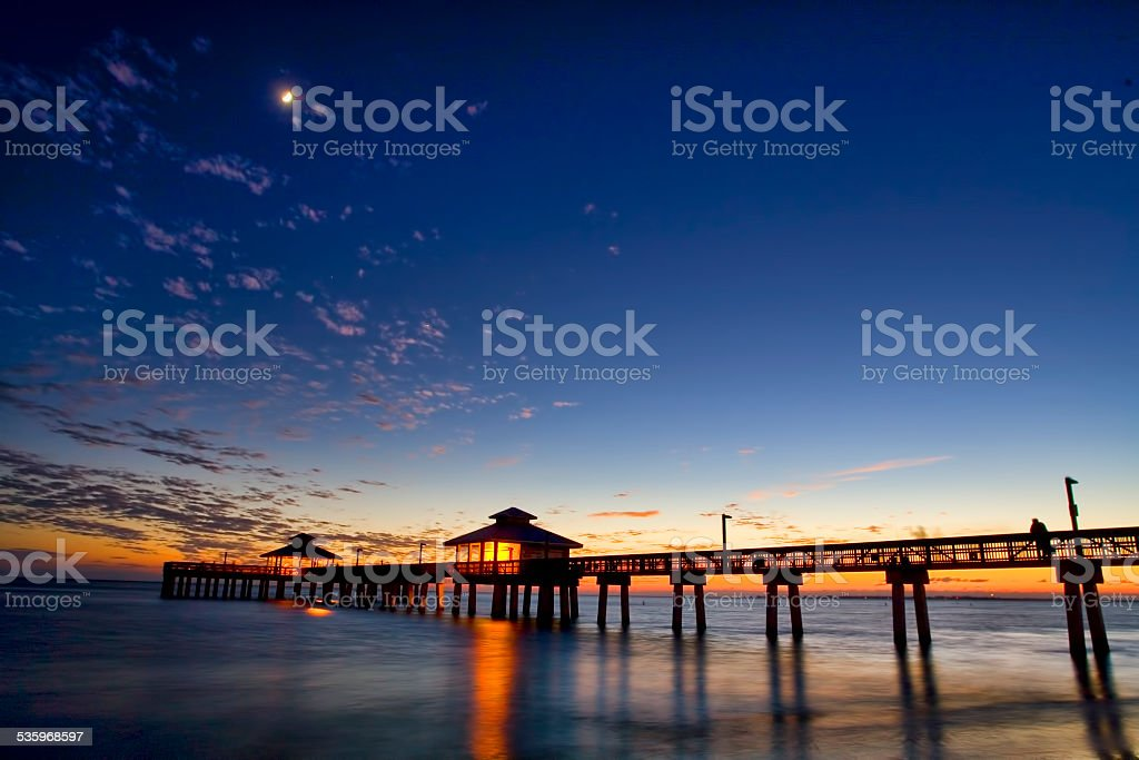 Fishing Pier at Sunset 2 stock photo