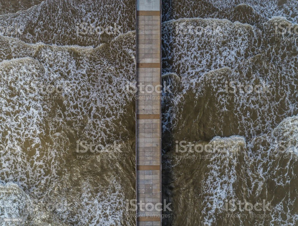 Fishing Pier From Above royalty-free stock photo