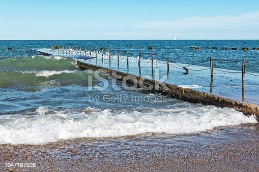 Fishing pier, Lake Michigan shoreline, Chicago