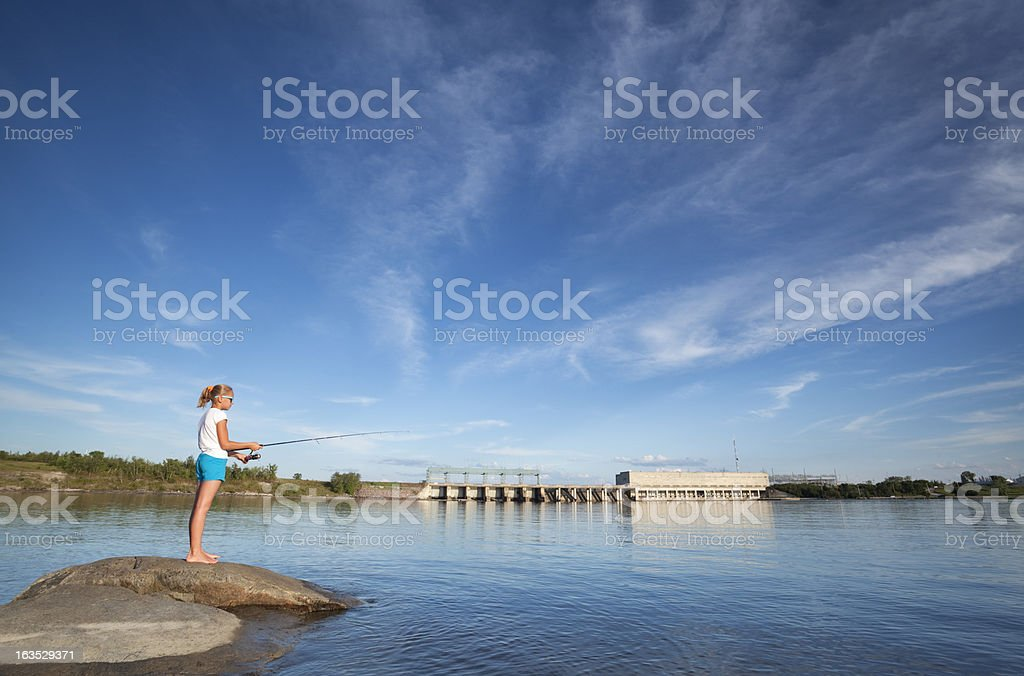 Fishing Pine Falls Manitoba royalty-free stock photo