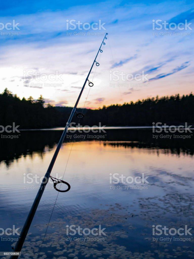 Fishing Pole Night Silhouette, Reflection on Water - Royalty-free Fishing Stock Photo