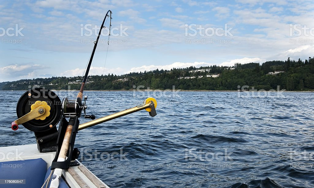 Fishing Pole on Downrigger stock photo