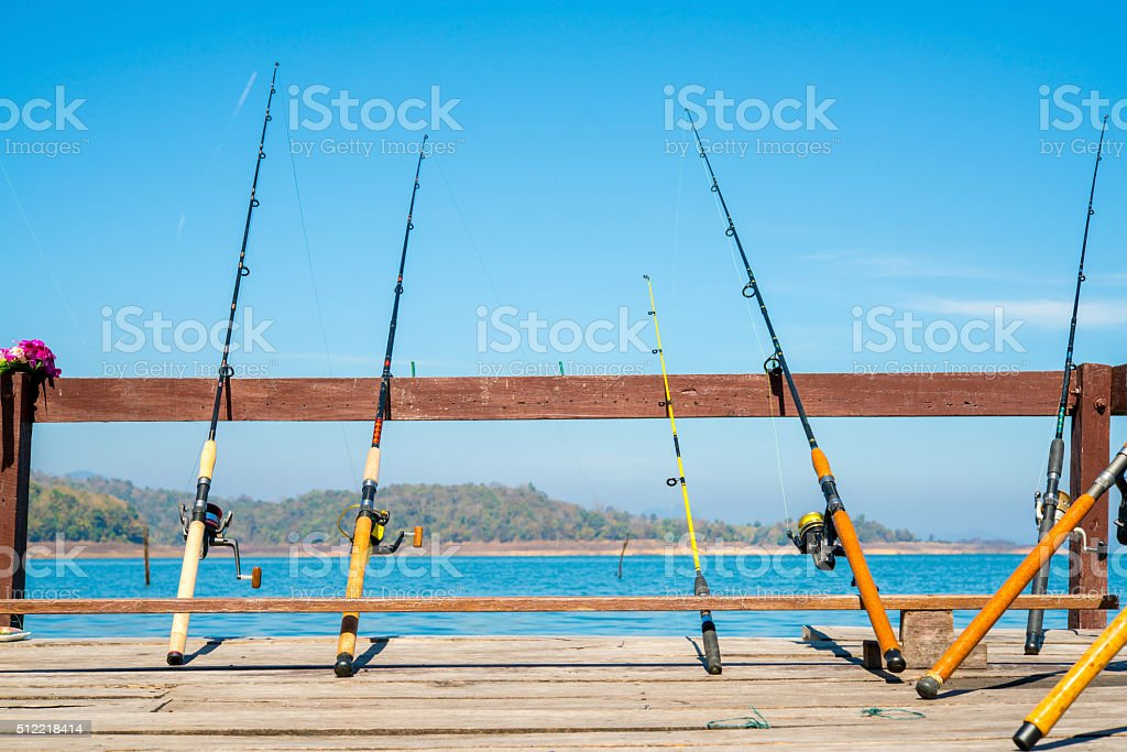 Fishing Poles stock photo
