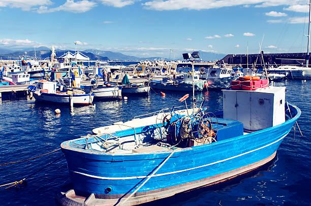 Fishing port in Cetara, Amalfi Coast stock photo