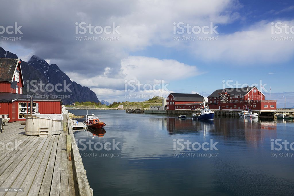 Fishing port in Henningsvaer royalty-free stock photo