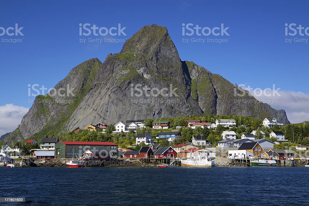 Fishing port in Reine royalty-free stock photo