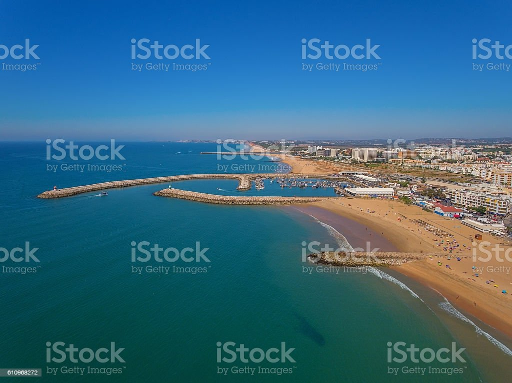 Fishing port of Quarteira, the view from the sky. stock photo