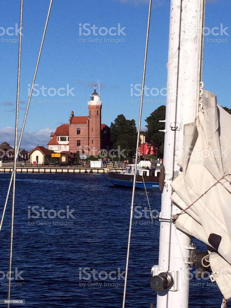 Fishing port of Ustka, Poland stock photo
