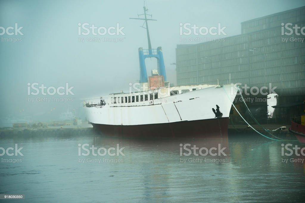 Fishing port of Ustka, Poland with morning fog stock photo