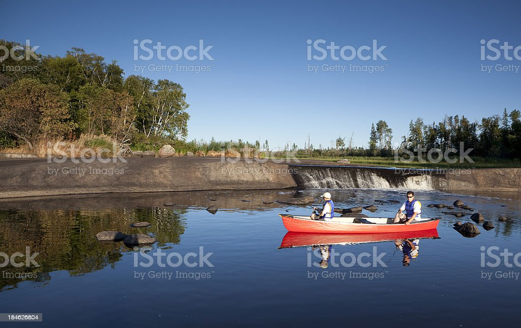 Fishing Rain Bow Falls Manitoba royalty-free stock photo