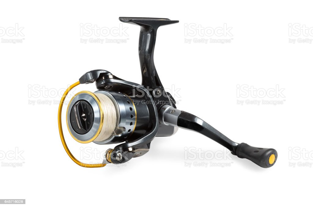 Fishing reel with braided tread stock photo