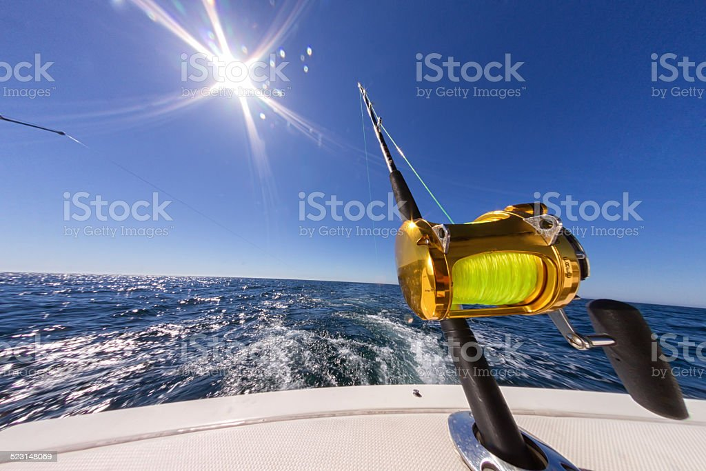 Fishing Reels on an Ocean Boat stock photo