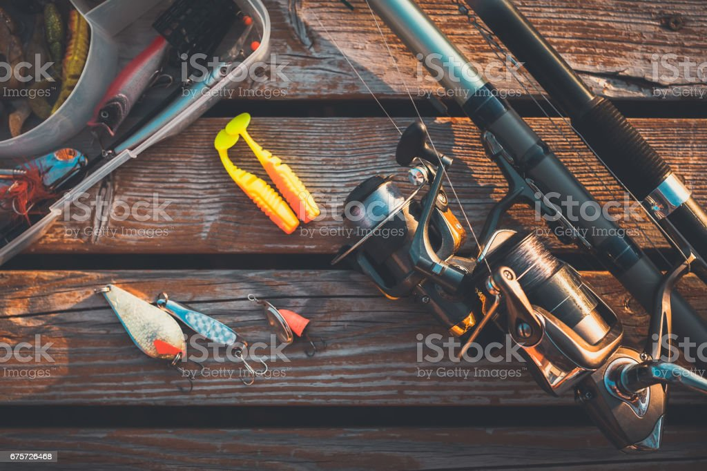fishing rod and baits – Foto