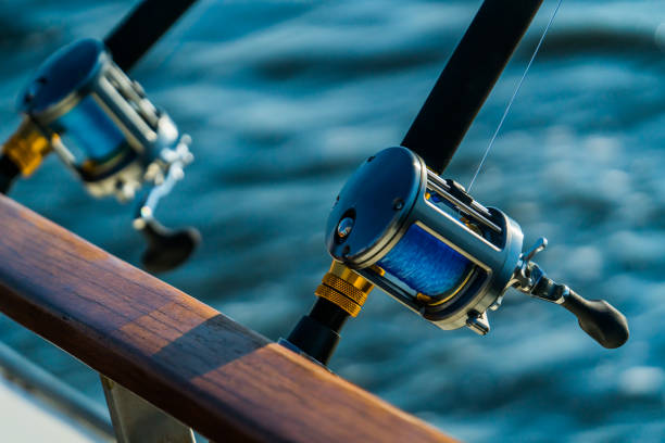 Fishing rod and reel on boat Fishing gear on deep sea sport fishing trip in the bay at sunset bay of water stock pictures, royalty-free photos & images