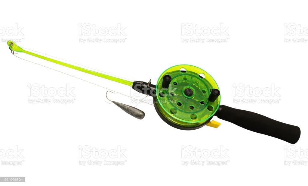 Fishing rod for winter fishing stock photo