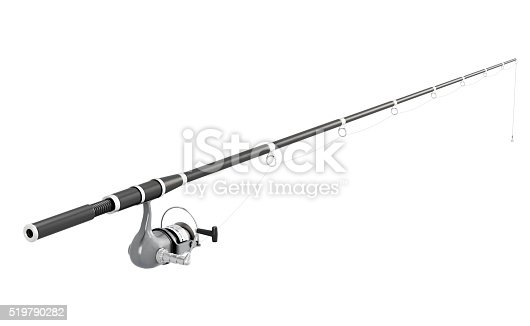 Fishing rod spinning isolated on white background. 3d image render.