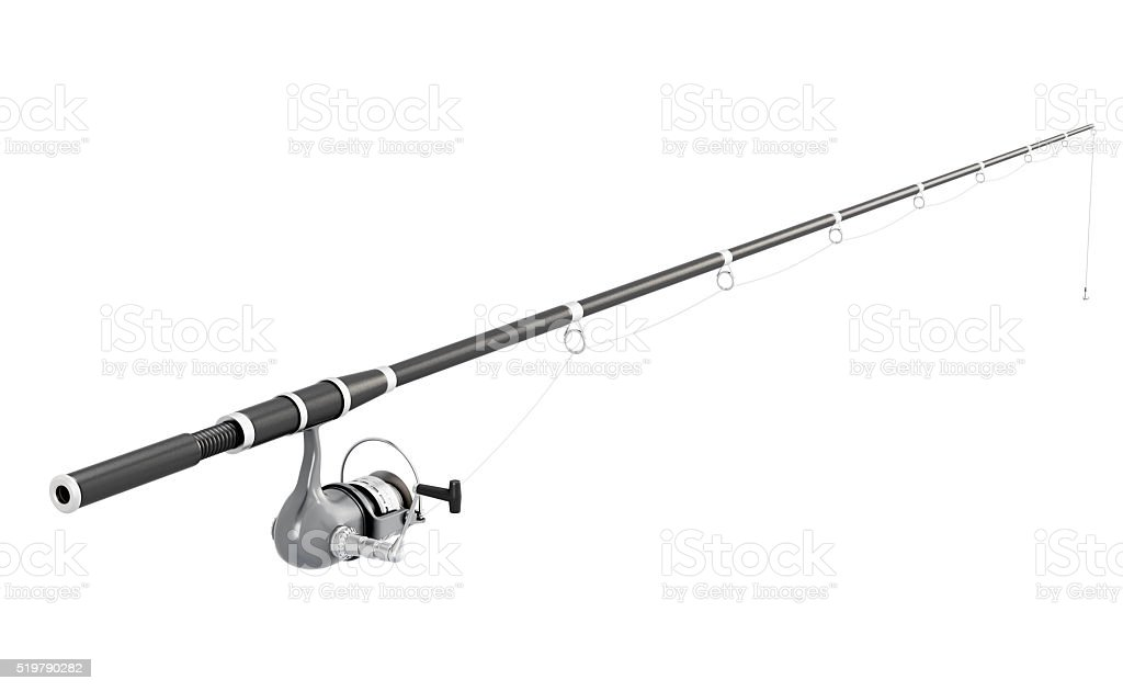 Fishing rod spinning isolated on white background. 3d image rend stock photo