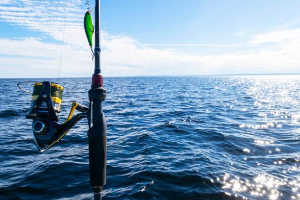 ラインクローズアップと釣り竿スピニングリング。水晶の上の釣竿はまだ水です。釣竿の指輪。釣具。釣りスピニングリール。ソフト照明 - 釣り ストックフォトと画像