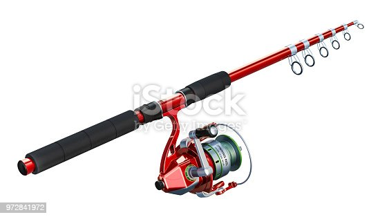 Fishing rod with spinning, 3D rendering isolated on white background