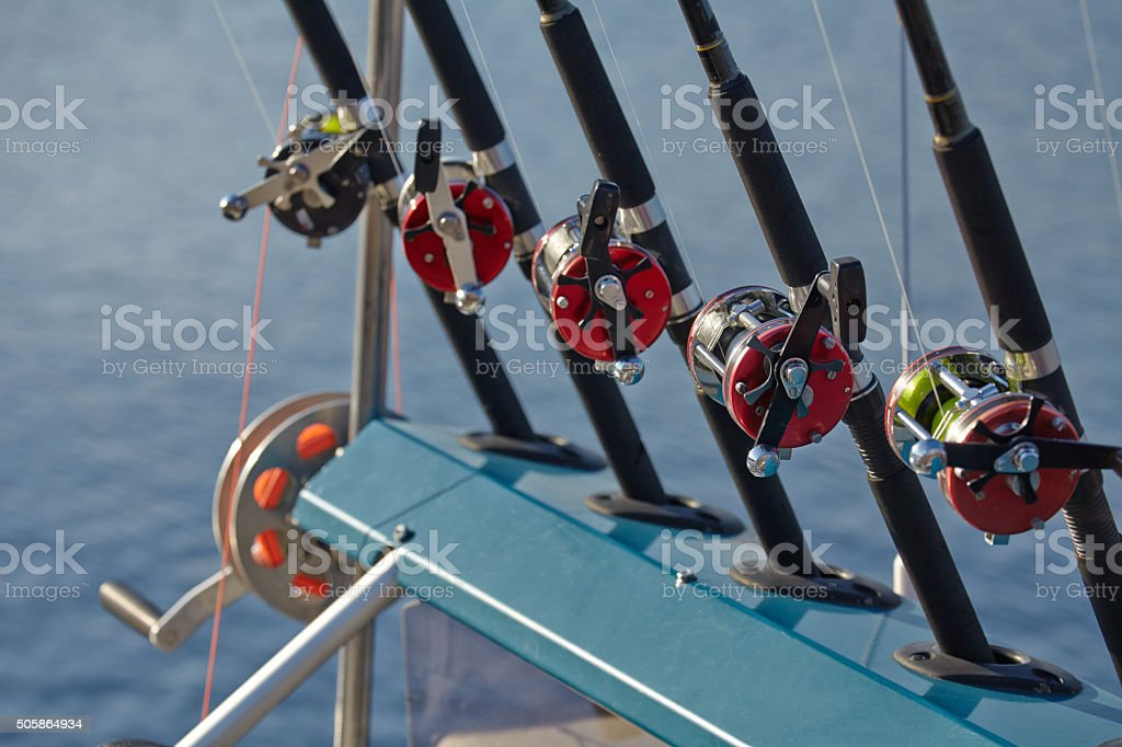 Fishing rods and reels fishing line stock photo