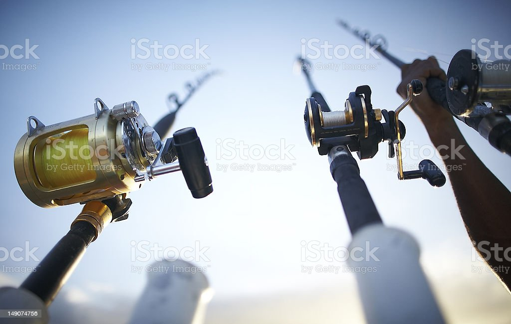Fishing rods early in the morning stock photo