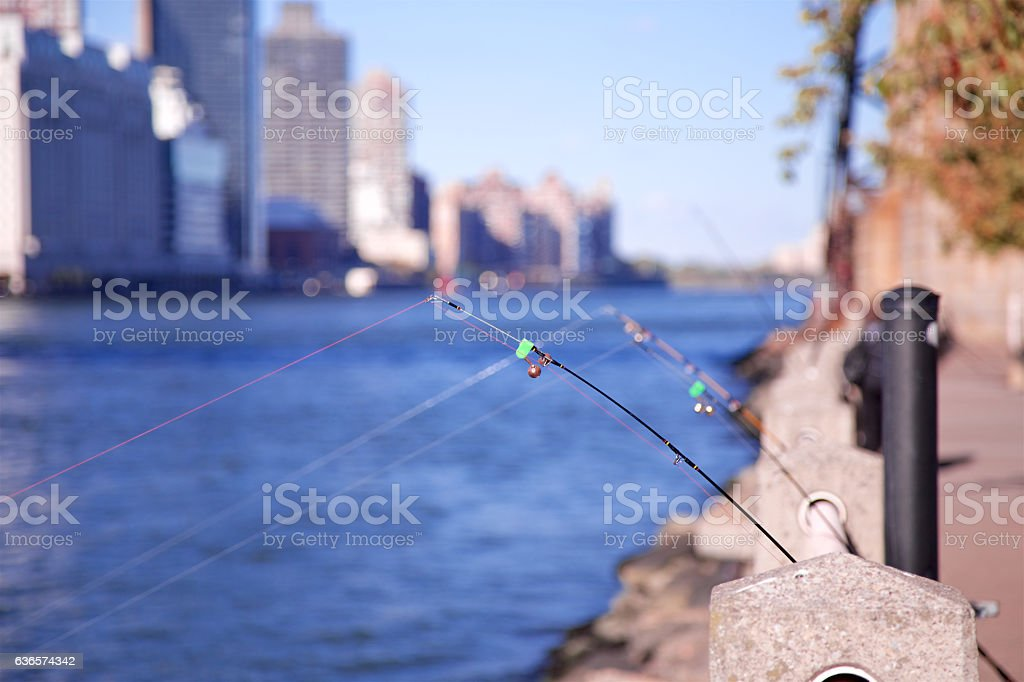 Fishing Rods in NYC stock photo