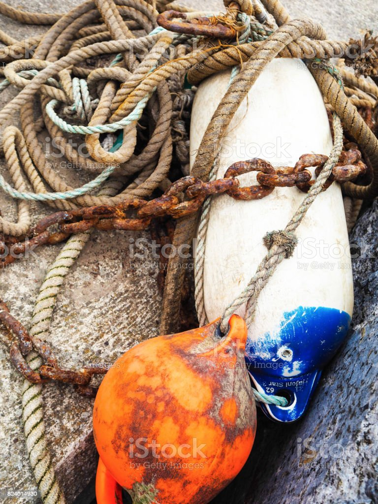 Fishing rope and buoys stock photo