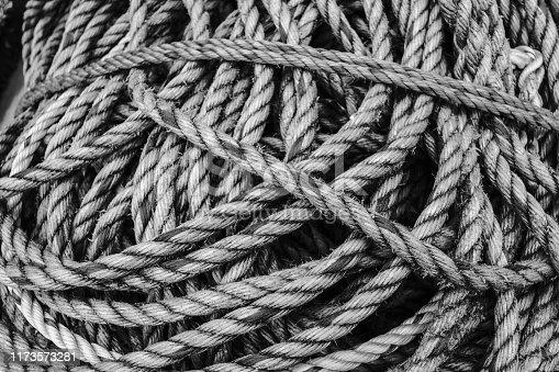 501889762istockphoto Fishing rope tangled 1173573281